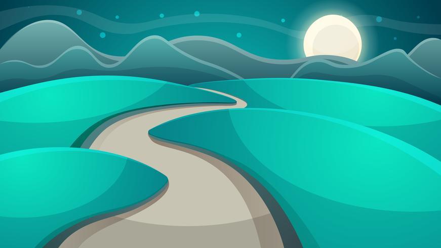 Paisaje nocturno de dibujos animados. Luna y nube.