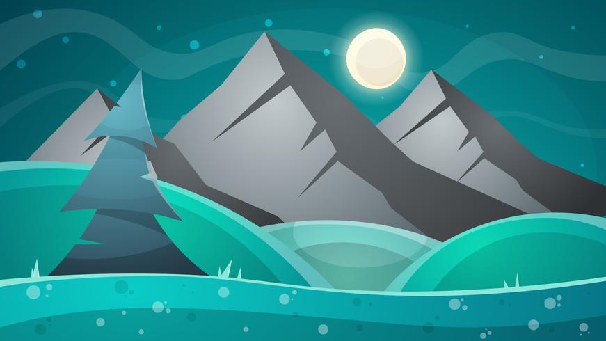 Paesaggio notturno dei cartoni animati. Cometa, luna, montagne, illustrazione di abete.