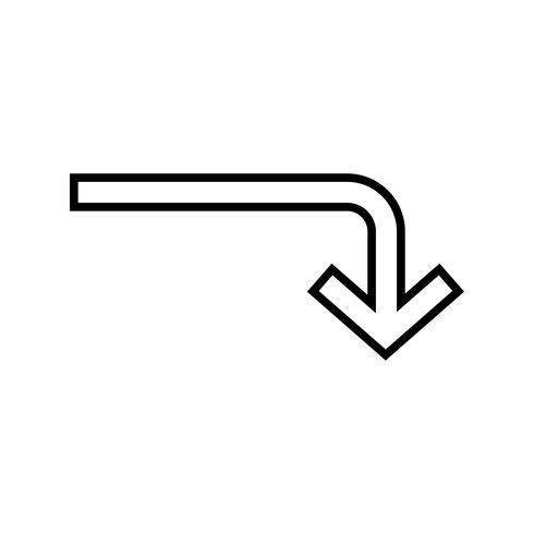 Icono de línea descendente negro
