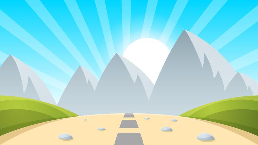 Dibujos animados paisaje montaña, sol, luz