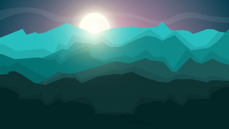 Karikaturlandschaftsabbildung. SCartoon Landschaftsabbildung. Sonne. Wolke, Berg, Hügel.