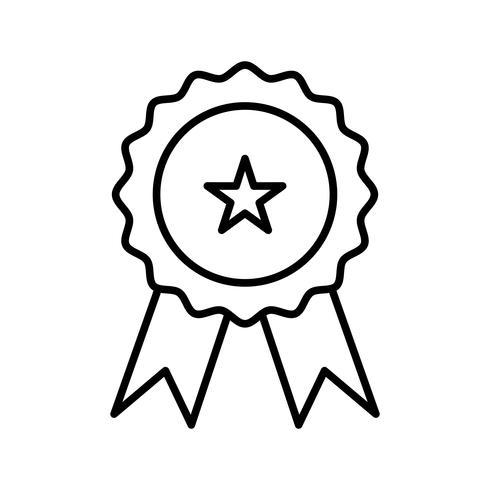 icona nera linea medaglia vettore