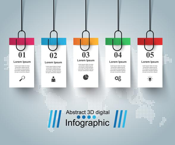 3D digital illustration Infographic. Pin, clip icon.