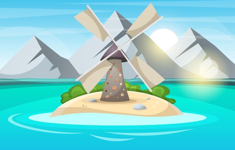 Ötecknad. Berg, sol, moln, vindkraftverk, hav och buske.