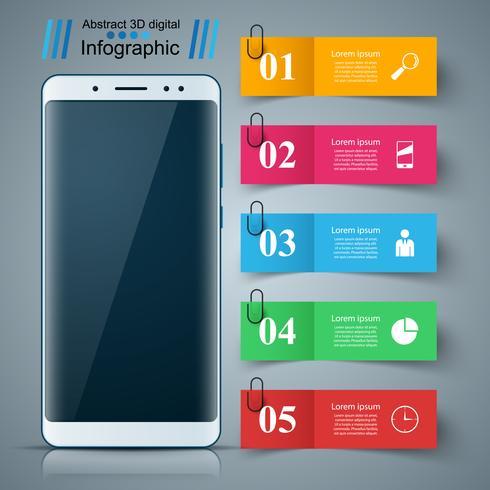 Digital gadget, smartphone. Business infographic. vector
