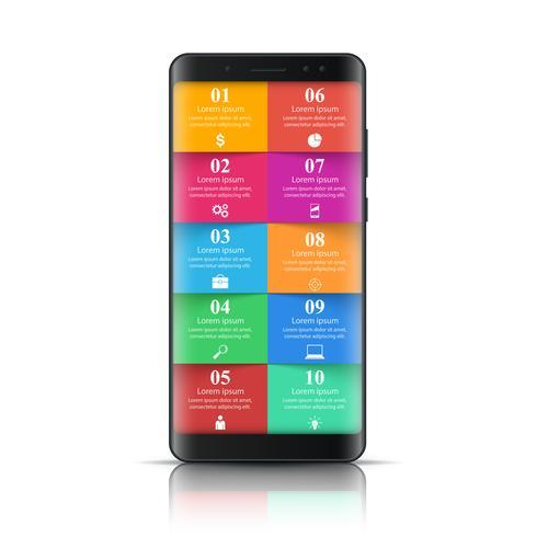 Digital gadget, smartphone ikon. Business infographic.