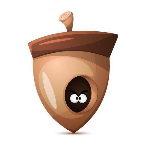 Nuts Cartoon. Gesundes Essen.