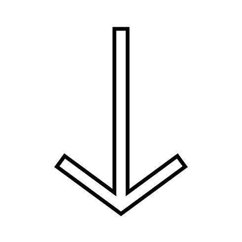 nedåtrikad svart ikon