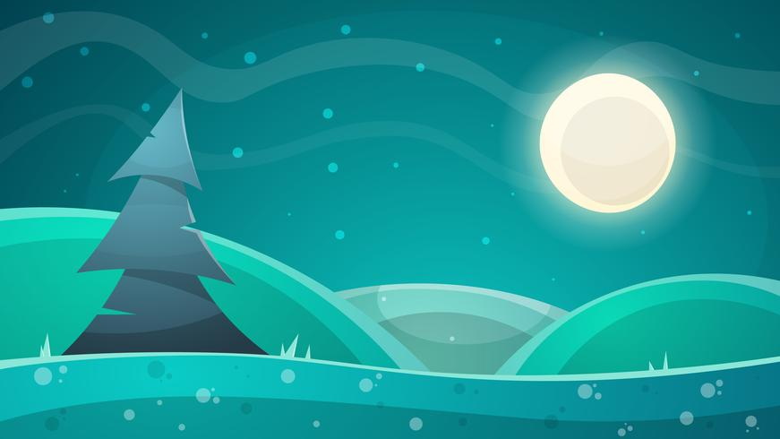 Paysage de nuit de dessin animé. Sapin, illustration de la lune
