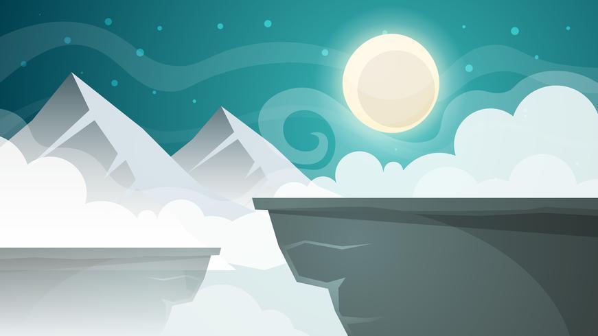 Paesaggio notturno dei cartoni animati. Montagna, illustrazione di luna.