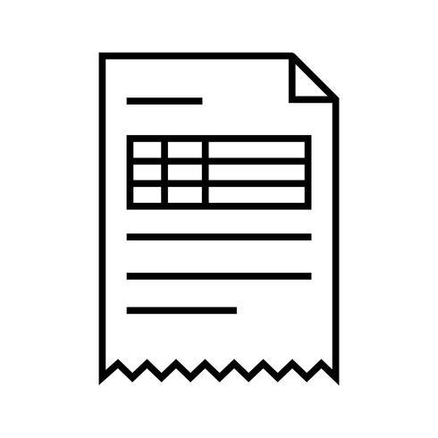 Línea de factura icono negro