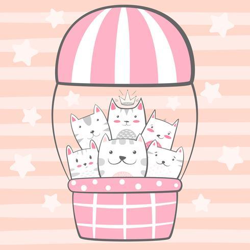 Cat, kitty characters. Air balloon illustration.