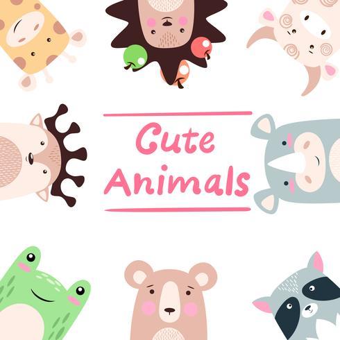 Set dieren - giraf, egel, koe, stier, neushoorn, wasbeer, beer, kikker, hert. vector