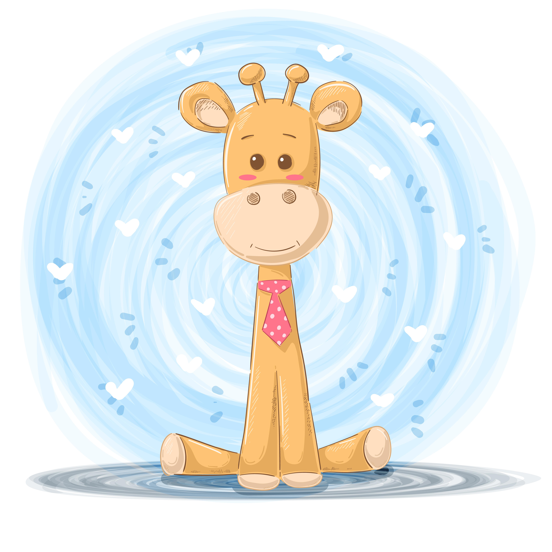 Baby Logo Collection Template: Cartoon Giraffe Illustration
