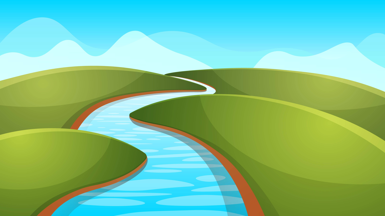 Landscape Illustration Vector Free: Landscape Cartoon, Illustration. River, Sun, Hill
