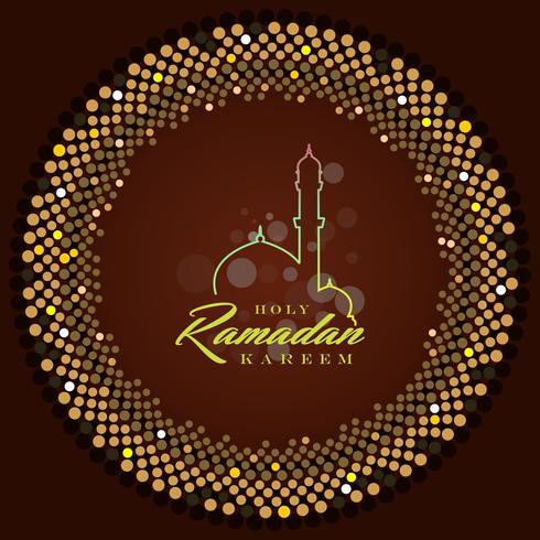Ramadan Kareem Greeting Card e sfondo islamico con pattern arabo