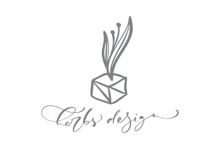 Texto de diseño de hierbas. Belleza dibujada mano floral escandinava de moda del vector.