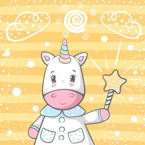 Cute magic trik unicorn characters. vector