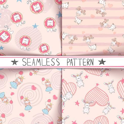 Unicorn, deer, girl, rabbit - seamless pattern