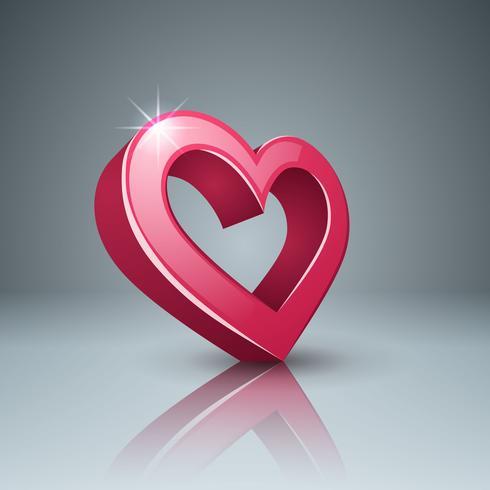 Icono 3d realista. Corazón y amor. vector