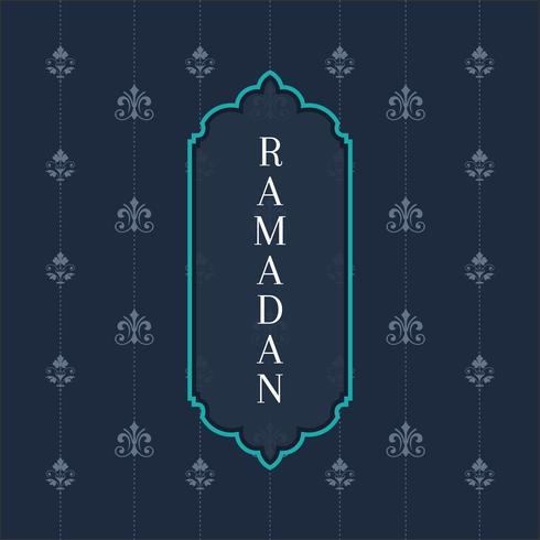 Tarjeta de felicitación de Ramadán Kareem y antecedentes islámicos con patrón árabe