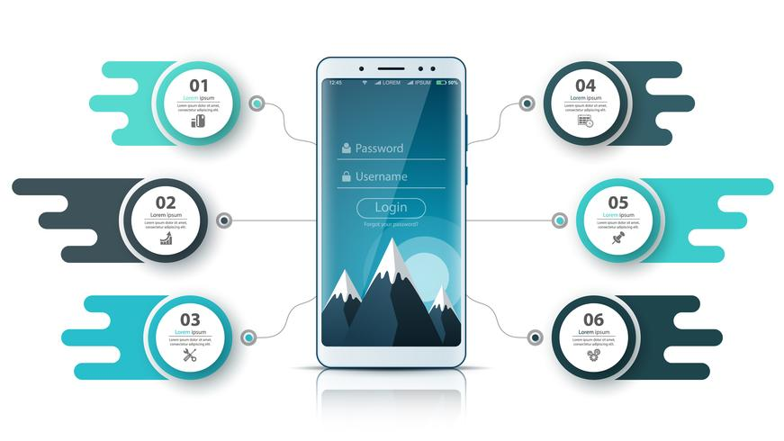 Infografía de negocios Smartfone. Gráfico de negocios vector