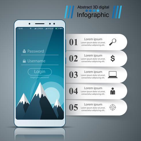 Interface utilisateur, icône de la tablette smartphone. Infographie de l'entreprise.
