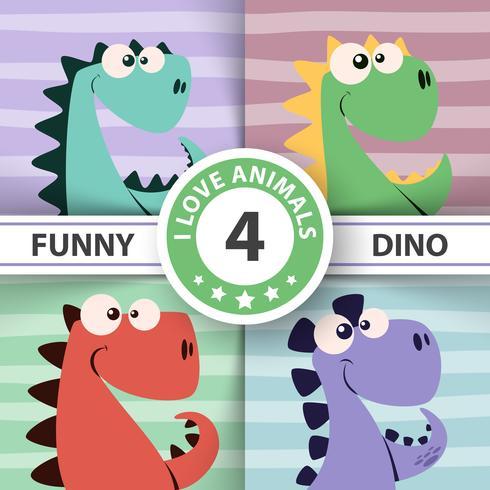 Nette Dinoillustration. Vier Artikel.