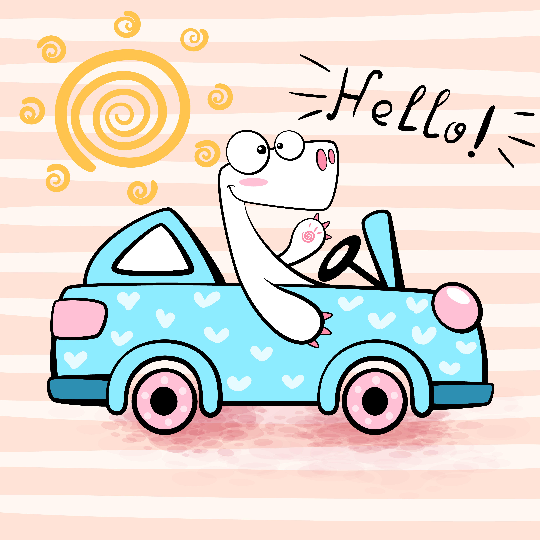 Cute dino drive funny car. - Download Free Vectors ...