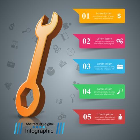 Schraubenschlüssel, Schraubendreher, Reparatursymbol. Geschäftsinfografik.