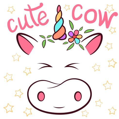 Vaca linda, personajes cowicorn. Idea para camiseta estampada.