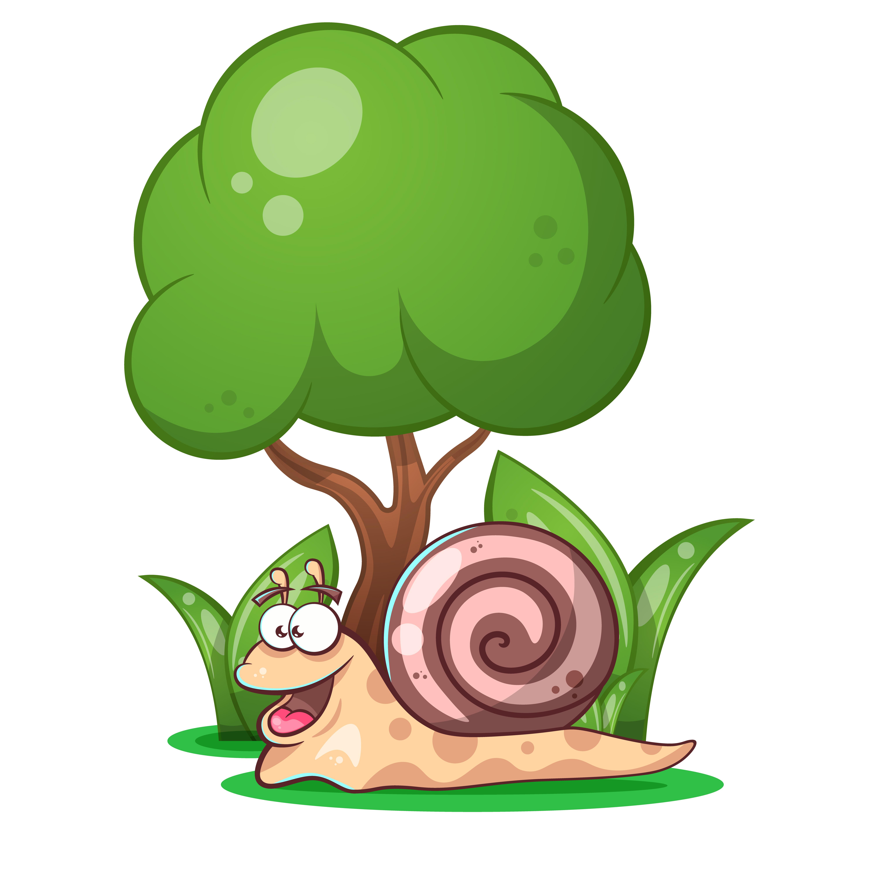 snail, animals, tree, grass cartoon characters