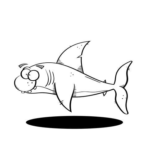 Zwarte lijn cartoon haai illustratie.