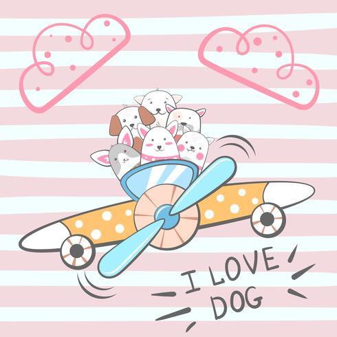 Cartoon dog characters. Airplane illustration.