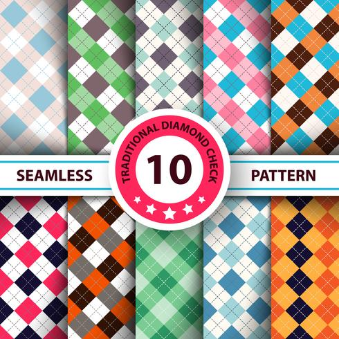 Seamless argyle plaid blue pattern. Diamond check - idea for your print. vector