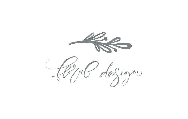 Floral Design text. Vector trendy scandinavian hand drawn beauty.
