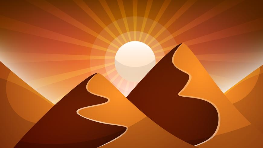 Desert landscape. Pyramid and sun. vector