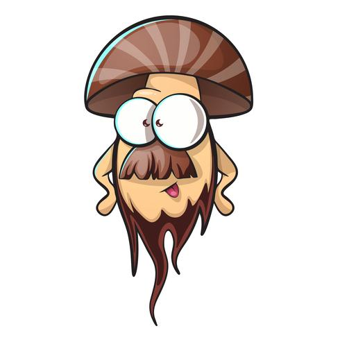 Cartoon mushroom with beard vector