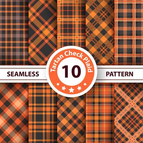 Classic halloween tartan, Merry Christmas check plaid seamless patterns. vector