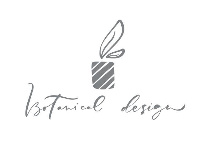 Texto de Design Botânico. Beleza tirada da mão floral escandinava na moda do vetor.