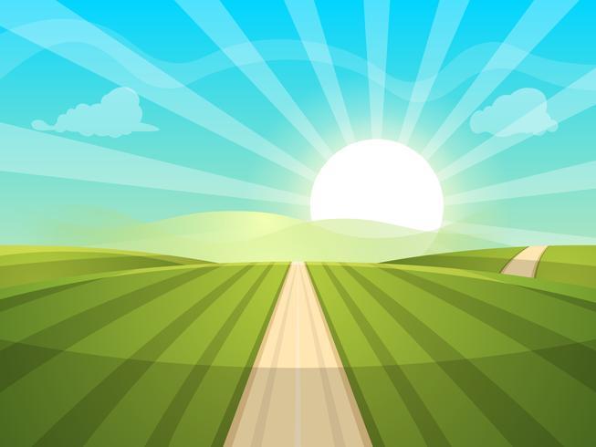 Illustration de paysage de dessin animé. Soleil. route, nuage, colline