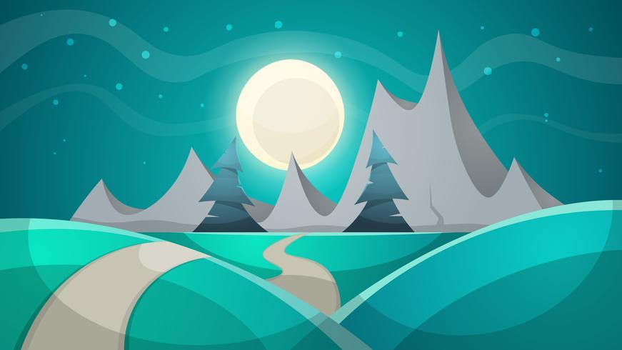 Paesaggio notturno dei cartoni animati. Abete, montagna.