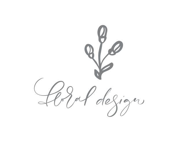 Texto de diseño floral Vector dibujado a mano de moda escandinavo belleza.