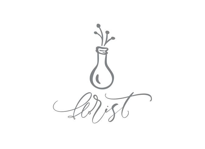 Floristería de texto caligráfico. Belleza dibujada mano floral escandinava de moda del vector.