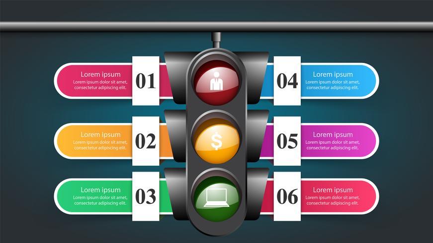 Infografía de semáforo. Seis artículos.