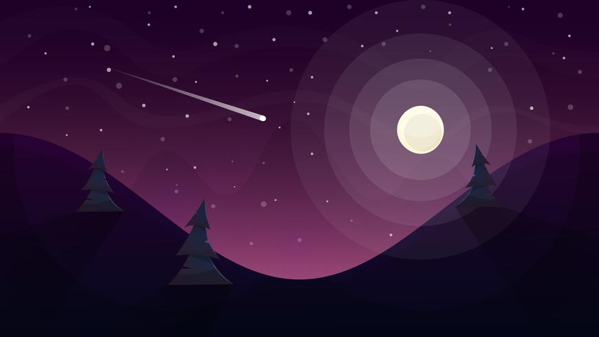 moon landscape. Star and mountain. vector