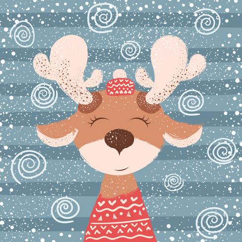 Cartoon funny deer character. Winter illustration.
