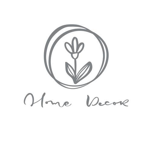 Logotipo de texto decoración del hogar. Belleza dibujada mano floral escandinava de moda del vector. vector