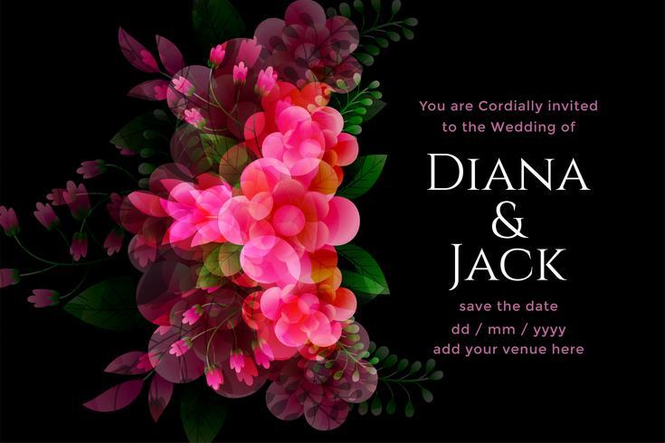 Invitación de boda negra con plantilla de decoración de flores