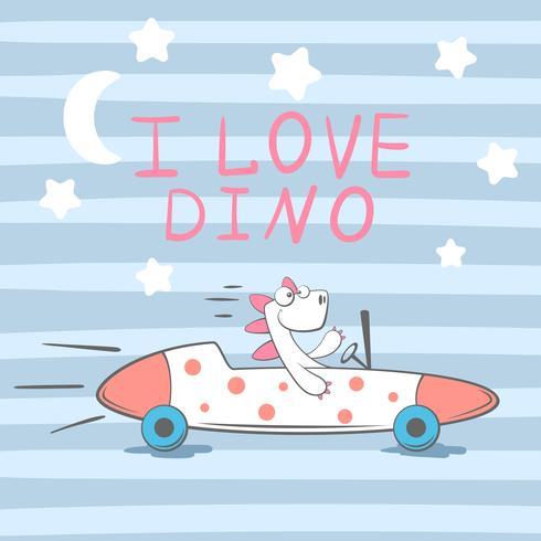 Cute, cool, pretty, funny, crazy, beautiful dino in the car.